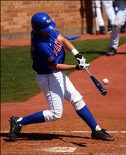 KU's Dylan Parzyk hits against Texas Tech at Hoglund ballpark. Kansas played Texas Tech Sunday afternoon.