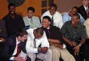 Kansas University basketball players laugh at a joke from coach Bill Self during the team's annual awards ceremony. The event was Tuesday at the Kansas Union.