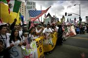 Protesting students from across California march towards city hall in Los Angeles, Saturday, April 15, 2006. The march is dedicated to 14-year-old Anthony Soltero. Soltero committed suicide after allegedly being threaten by a school official for participating in immigration protests.