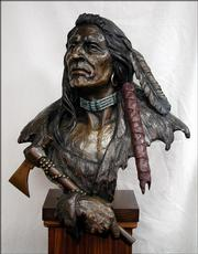 """Lawrence artist Jim Brothers has been commissioned to construct a bronze statue of Eudora&squot;s founder, Paschal Fish, and his daughter Eudora. Shown above is a past work by Brothers, titled """"Protector of the Plains."""""""