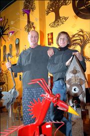 Kelvin and Kathyrn Schartz are owners of It's About Time, 816 Mass. Birdhouses, mobiles, clocks and dozens of other eclectic items fill their downtown gallery and gift store.