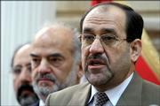 New prime ministerial candidate Jawad al-Maliki, right, speaks at a news conference along with outgoing prime minister Ibrahim al-Jaafari, second left Saturday April 22, 2006 in Baghdad, Iraq.  A breakthrough in months of political deadlock cleared the way Saturday for Iraq's parliament to launch the process of putting together a new government aimed at pulling the country out of its sectarian strife.