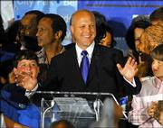 New Orleans mayoral candidate Mitch Landrieu address campaign workers at his election night headquarters in New Orleans Saturday morning April 22, 2006. Landrieu is running against incumbent Ray Nagin in the first city election since Hurricane Katrina.