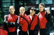 "From left, Vanessa Lengies, Maddy Curley, Wei Wei and Missy Peregrym star in the gymnastics movie ""Stick It."" It reflects the grueling work behind the popular competitive sport."