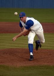 Kansas University's Nick Czyz pitches against the University of Saint Mary. KU won, 6-0, Tuesday at Hoglund Ballpark.