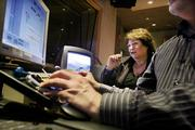"Susan Lacy, creator and executive producer of the PBS ""American Masters"" series, edits an upcoming program with audio engineer David Browning in New York. ""American Masters"" marks its 20th season this year."
