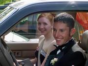 Mallory Richardson, left, and her escort to the 2003 Free State High School prom, Alan Martinez, began dating about a month before the dance. They're now engaged to be 