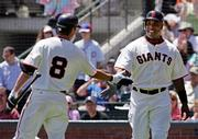 San Francisco's Barry Bonds, right, accepts congratulations from teammate Kevin Frandsen after scoring on a single by Mike Matheny. Bonds went 0-for-3 in the Giants' 9-3 victory over the Los Angeles Dodgers on Thursday in San Francisco.