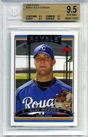 Royals prospect Alex Gordon's Topps rookie baseball card, shown in this image courtesy of collector Jeremy Troutman of Wichita, mistakenly was released in limited numbers. It sold last week for $7,500 on eBay. Under MLB rules, Gordon's card should not be in circulation until he hits the big leagues.