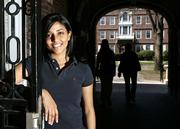 Kaavya Viswanathan, a sophomore at Harvard University, is pictured in April at the university in Cambridge, Mass. She was caught lifting material from other authors, causing a publishing world scandal. The young author honed her love of writing at the Bergen County Academies, a rigorous New Jersey magnet high school, where she was remembered as the kind of person others noticed.
