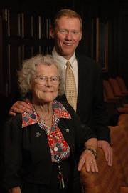 """Alan Mulally makes it home for a variety of business and social events, but admits that """"my favorite place to go is to see my mother, and to take her out for lunch to all the great places to eat in Lawrence."""" Last year he sat for a portrait with his mom, Lauraine Mulally, at the Kansas University Adams Alumni Center, where he brought her to a retirement reception for a friend, Carl Locke, then dean of engineering at KU. The Mulallys will be together again for a luncheon Tuesday."""