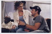 "Jeffrey Phelps, right, directs actress Connie Britton on the set of ""Special Ed."" Phelps, a 1999 graduate of Kansas University, based his first screenplay on his family&squot;s personal battles with cancer."