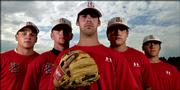 Behind ace Daniel Green, center, Lawrence High will count on pitchers, from left, Drew Hulse, Jordan Guntert, Joe Kornbrust and Daren Parker, right, during its Class 6A regional today at Manhattan.