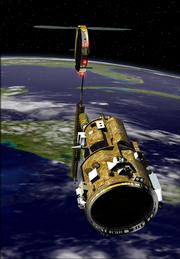 This artist rendering released by NASA shows the Demonstration for Autonomous Rendezvous (DART) spacecraft, foreground, as it might appear as it approaches a communications satellite in orbit above Earth. The NASA spacecraft designed to autonomously carry out a series of tasks crashed into its target after using too much fuel halfway through its mission, according to a report summary released Monday, May 15, 2006.  Investigators blamed the collision on faulty navigational data that caused the DART spacecraft to believe that it was backing away from its target when it was actually bearing down on it.