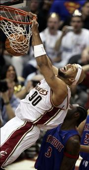 Cleveland Cavaliers forward Drew Gooden dunks against the Detroit Pistons in Game 6 of their series Friday. Gooden is one of just four Cavaliers with Game 7 experience.