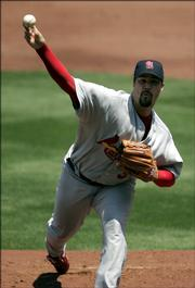 St. Louis Cardinals starter and former Royal Jeff Suppan delivers against the Kansas City Royals. Suppan pitched six innings and earned the win Sunday in Kansas City, Mo.