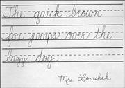 A handwriting sample from Schwegler School teacher Susan Lomshek.
