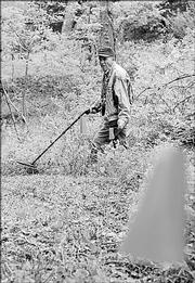Volunteer Dick Harman uses a metal detector at the Black Jack site in search of battle artifacts. The heavily wooded area will be serve as a nature preserve in the future.