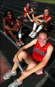 The Lawrence High girls 4x400-Meter Relay team - from front, Jennifer Taylor, Courtney Barber, Sue Schwartz and Kristina Taylor - are the top-seeded team in the event at state.
