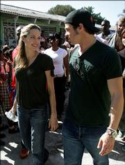 Angelina Jolie and Brad Pitt tour the Immaculate Conception School in Port au Prince, Haiti, in this Jan. 13, 2006, photo. Jolie and Pitt have named their new daughter Shiloh Nouvel. Shiloh is a Hebrew word that can be translated as Messiah, and Nouvel is a French word meaning new.