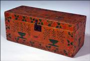 This pine chest is decorated with stenciled paint designs. The hope chest, made in the early 19th century, sold for $3,055 at a Skinner auction in Boston this year.