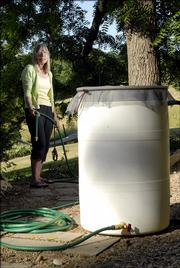 A workshop put on by the city recycling department helped gardeners like Connie Spitz, rural Lawrence, put together a 55-gallon water collection barrel. Spitz's barrel in the foreground will be placed at the corner of a house to collect rainwater from the roof gutters. With a hose attached to the garden spigot at the bottom of the barrel, Spitz will be able to use the rainwater on any area of her garden.