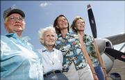 Nearly 40 planes in the world's only all-women piloted transcontinental air race are scheduled to stop in Lawrence on Wednesday and Thursday. Pilots in the race, including, from left, Marge Thayer, Ruby Sheldon, Helen Beulen and Judy Yerian will be flying from Mesa, Ariz., to Menominee, Mich.
