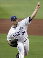 Kansas City's Mark Redman delivers against Pittsburgh. Redman was the winning pitcher in the Royals' 10-6 victory Tuesday night in Kansas City, Mo.