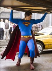 "Brandon Routh plays the Man of Steel in ""Superman Returns."""