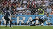 Germany goaltender Jens Lehmann, right, makes a save on a penalty kick by Argentina's Roberto Ayala during the shootout of their World Cup soccer match. Germany won, 4-2, on penalty kicks after a 1-all deadlock Friday in Berlin.