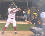 Ice League Red Sox Ryan Taylor bats in the top of the fifth inning. Taylor scored his second run for the team on Wednesday at Holcom Park.
