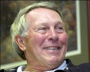 Hall of Fame third baseman Brooks Robinson responds to a reporter's question in this file photo from April 29, 2005, at his hometown of LIttle Rock, Ark. Robinson recalls when the American League was getting thumped in the All-Star game - instead of doing the thumping, as it has lately.