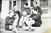 From left Martha Maxwell, Sudy Underwood, Phyllis Springer, Joanie Underwood, and Judy Jones, wait outside the sorority before an intramural basketball game. They took second place in the women's division. 