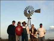 Liberal area residents Justin Swank, Jasmine Salley, Mark Haralson, Megan Jones and Sergio Covarrubias await instructions after they arrived on the Davies Ranch in rural Seward County. During one week in June, the five competed for the title of Ultimate Pioneer on the Prairie, an annual contest organized by the Southwest Daily Times in Liberal.