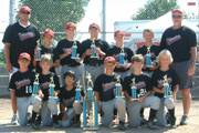 The U10 DCABA Detonators pose after the Road To Omaha tournament. PIctured first row: Joe Dineen Jr., Zach McNabb, Hunter Fellers, Tanner Glazer, Ryan Walter, Weston Hack. Back row: Joe Dineen Sr., Cole Moreano, Jacob Seratte, Bryce Montes de Oca, Cameron Pope, Wilson Hack, coach Steve Walter.