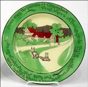 Rather large rabbits are part of the design of a series of plates probably used to hold a serving of toast covered with a melted-cheese mixture. Plates from this set sell for about $300. One was offered for sale last summer at Showcase Antique Center in Sturbridge, Mass.