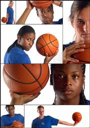 Clockwise from bottom right: Rebecca Feickert, LaChelda Jacobs, Danielle McCray, Sade Morris, Kelly Kohn, Porscha Weddington and Lindsay Ballweg.