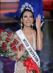 Zuleyka Rivera Mendoza, Miss Puerto Rico 2006, reacts after winning the Miss Universe 2006 pageant on Sunday in Los Angeles.