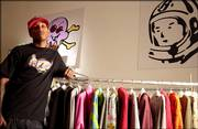 Pharrell is photographed at his clothing showroom last week in New York. Pharrell's falsetto can be heard on several albums, including Jay-Z, Snoop Dogg and Justin Timberlake, and now stars in his first solo album.