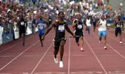Justin Gatlin crosses the finish line as the anchor of the 4x100 relay in the Kansas Relays. After the event April 22, Gatlin tested positive for testosterone or one of its precursors, he said Saturday.