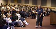 """""""People can call the KU-Missouri football game anything they want, but it&squot;s always been a war,"""" former KU coach and player Don Fambrough told the KU football team. The 82-year-old Jayhawk, who attends every KU football practice, addressed the players in Hadl Auditorium in this 2006 file photo."""