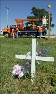 workers with the Kansas Department of Transportation set up stop signs and flashing lights at Baldwin Junction, although the new signals were taken down about an hour later. Rumble strips must be installed before the signs can be used. They worked Friday near a roadside memorial for two young women recently killed at the intersection of U.S. highways 56 and 59.