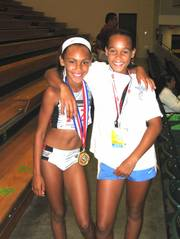 Alexa-Harmon-Thomas, left, and Bridgette Berry have been friends for a few years. Recently Berry moved to Florida, and now the two meet at track and field events around the country.