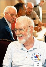 Dick Sapp, former KU physics and astronomy professor, wears his Endacott Society shirt during a July meeting.