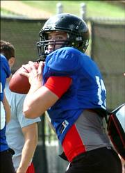 Quarterback Chris Todd goes through his progressions. Texas Tech practiced Friday in Lubbock, Texas. Coach Mike Leach plans to pick a starter within the next two weeks. He said the friendly battle between Graham Harrell and Todd was too close to call right now.