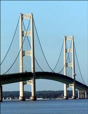 The Mackinac Bridge is shown from St. Ignace, Mich. The FBI said Monday that there was no imminent threat to the bridge linking Michigan's upper and lower peninsulas.