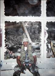 "Former Marine Jason Thomas is shown in September 2001 at the World Trade Center site, where he helped in the rescue effort following the 9-11 terrorist attacks. Thomas, who lives in Columbus, Ohio, helped rescue Port Authority Police Officers John McLoughlin and Will Jimeno, the subjects of the new movie ""World Trade Center."""