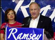 Law enforcement authorities asked Patsy Ramsey, left, in late May - a month before she died of cancer - whether she would be willing to meet with the man who claims he killed her 6-year-old daughter. The meeting never took place. Patsy and John Ramsey are pictured during the election for Michigan's 105th District in August 2004.