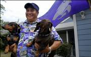 Lawrence resident and Catbacker Robin Spencer is pictured with two of his dachshunds, Wabash Cannonball, who is named after the Kansas State University fight song, at left, and Sonofat. Despite living in Jayhawk country, Spencer says he tries to wear a little purple every day to work in support of the Wildcats.