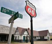 The old Phillips 66 gas station in Baxter Springs, shown here Friday, is planned to become a Route 66 welcome center. The Baxter Springs Historical Society has received a grant to turn the gas station along historic Route 66 in southeast Kansas into a welcome center for the famed highway.